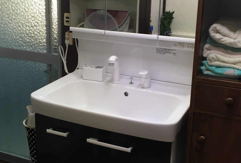 吉岡町でLIXIL(リクシル)のオフトW750へ洗面台交換工事が完工 – ミヤケンリフォーム