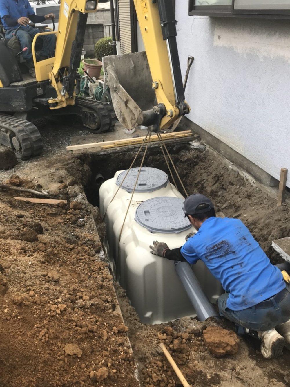 浄化槽の補助金を利用して浄化槽工事中。