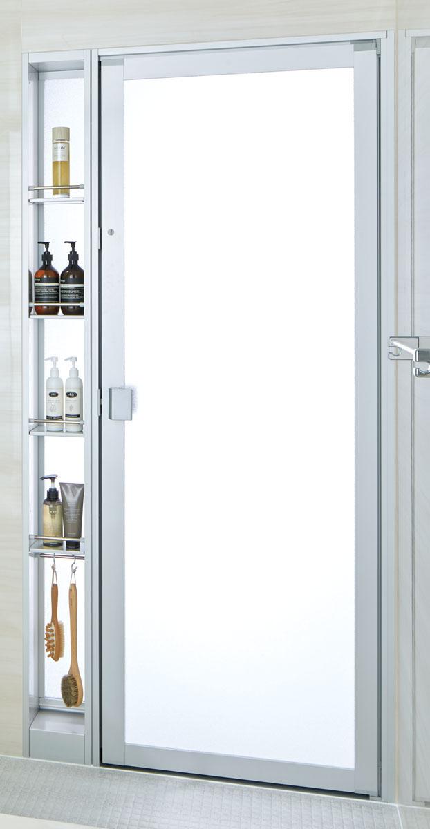 浴室ドアは収納タイプですっきりと、LIXILアライズに浴室交換工事